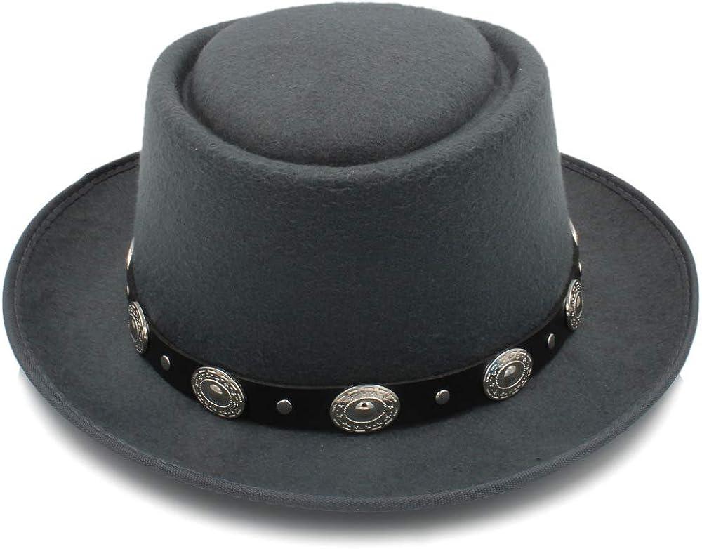 L.W.SUSL Women Men Felt Fedora Pork Pie Hat Cashmere Flat Homburg Godfather Top Caps with Fashion Bowknot Wide Brim Hat