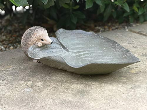 Hedgehog Leaf Bird Feeder/Bath Garden Feature Ornament/Statue Resin
