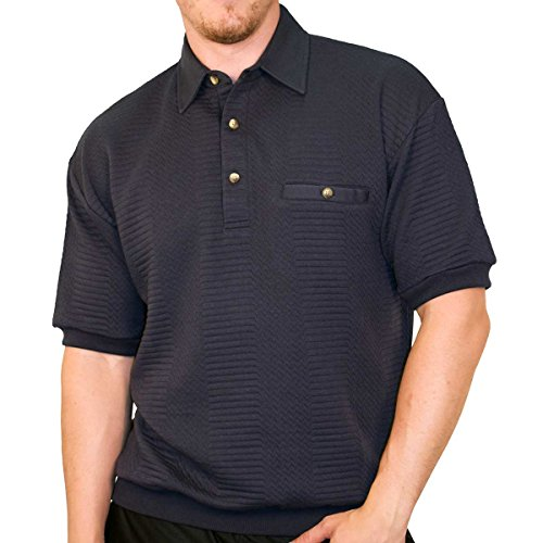 Banded Bottom Classics by Palmland Solid French Terry Polo Shirt - 6090-780 (XLarge, Navy)