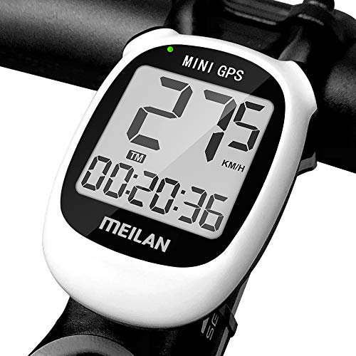 MEILAN M3 Mini GPS Bike Computer, Wireless Bicycle Speedometer Bike Odometer Cycling Computer, IPX6 Waterproof Bicycle Computer Bike Accessories for Outdoor Cycling Men Women Teens Bikers, White