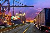 Hafen Container LKW Schiff XXL Wandbild Kunstdruck Foto