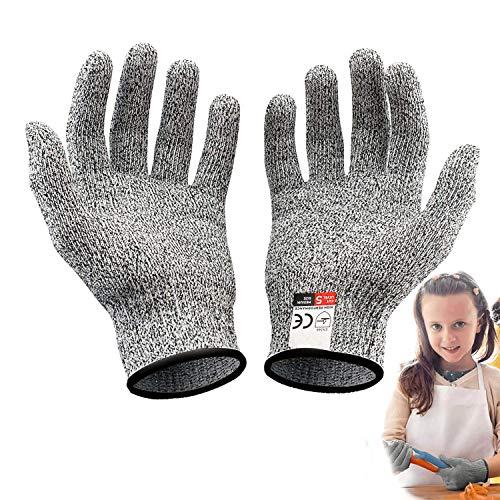 Schnittsichere Handschuhe für Kinder, 1 Paar Sicherheit Cut Handschuhe - Leistungsfähiger Level 5 Schutz (XS(8-12 Jährige) New, Grau)