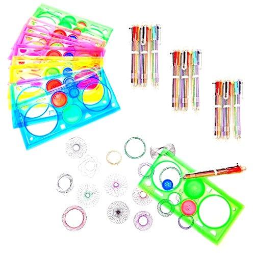 JZK 20 x Spirograph Set Dibujo Spirograph plástico, 10 Piezas Regla espirógrafo + 10 Piezas Multicolor bolígrafo para niños Adulto Bolsa Fiesta cumpleaños