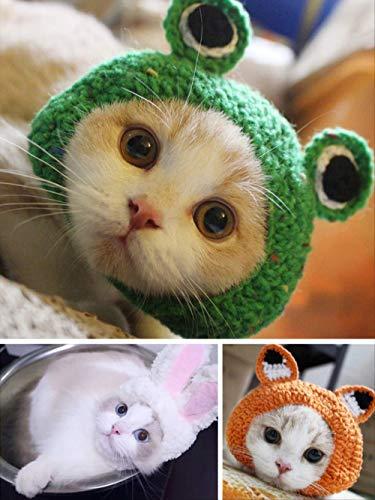 ZHAOYAN huisdier kat cartoon oor kleine hoed dames herfst en winter schattig kleine melk kat gebreide wol kopstuk huisdier benodigdheden