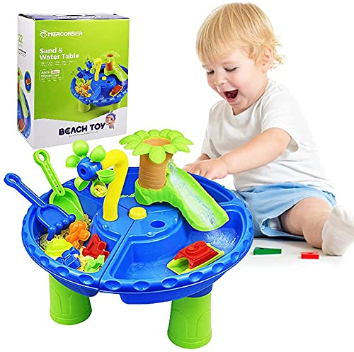 Roberty Beach Toys Sand Toys Set,Kids Play Sand Water Table 2 in 1 Summer Beach Toys for Outside & Outdoor Activity,Gifts for 1-3 Years Old Boys&Girls Outdoor Toys( Deluxe Version 22 Pcs)