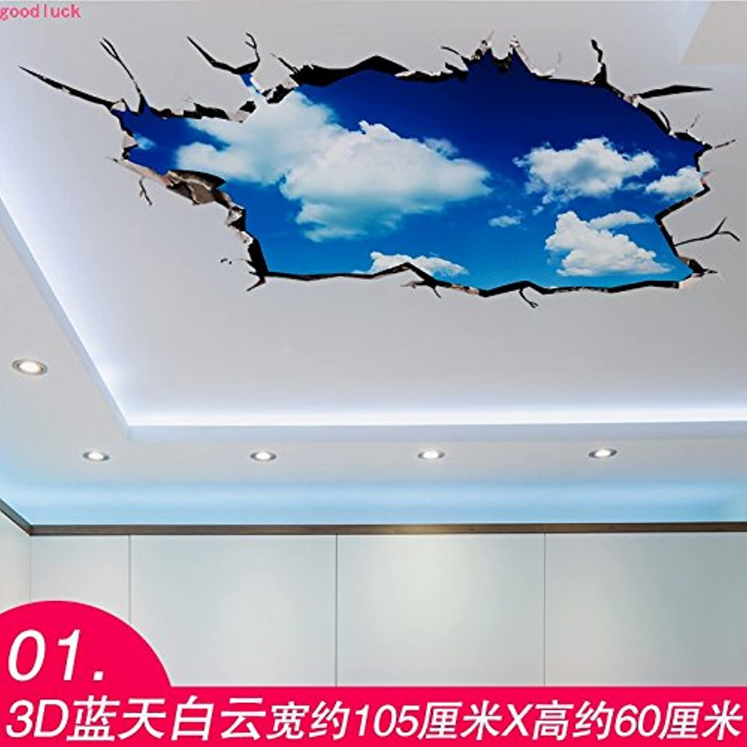 Znzbzt Bedroom Living Room Decoration Ideas Wallpaper Ceiling Wall Sticker Mural,01 3D Lantian Baiyun, King