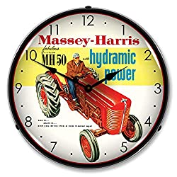 Massey-Harris MH-50 with Hydramic LED Wall Clock, Retro/Vintage, Lighted, 14 inch