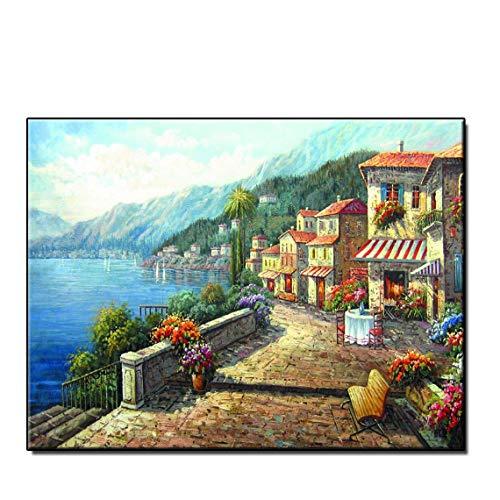 Gtfzjb Moderne Wohnkultur Bilder Hd Gedruckt Mediterranen Ölgemälde Für Wohnzimmer Wandkunst Bild Auf Leinwand Gerahmt