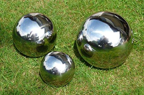 3 er Set Dekokugel Silberkugel Ø 25cm, Ø 20cm und Ø 15cm Edelstahl Kugel Rosenkugel Schwimmkugel Teichkugel