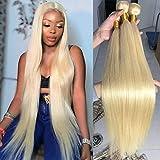613 Straight Bundles 613 Blonde Bundles (30 30 30) 9A Brazilian 3 Bundles 613 Blonde 100% Human Hair Bundles 613 Honey Blonde Weave Hair Extensions for Black Women