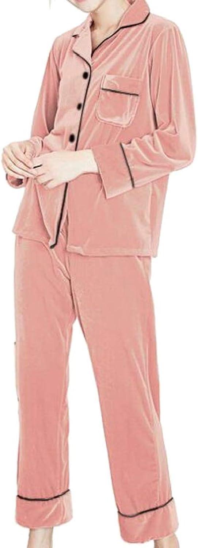 CromoncentCA Womens Homewear Long Sleeve Lapel Two Piece Lounge Velvet Pj Set