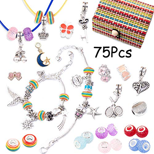VEGCOO Jewelry Making Kit for Girls, Bracelet Making Set with Charms Pendants Necklace Rainbow Beads DIY Gifts Crafts Sets for Kids