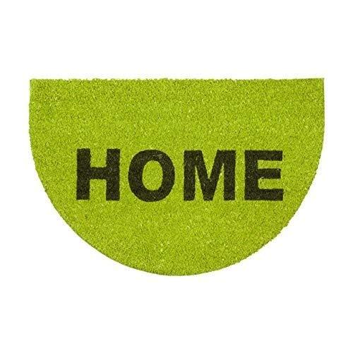 Relaxdays Fußmatte halbrund Kokos mit Spruch HOME 60 x 40 Kokosmatte aus Natur Faser als Türmatte mit rutschfestem Gummi-Boden für Innen und Außen Fußabtreter als Sauberlaufmatte und Abtreter, grün