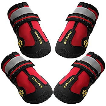 QUMY Dog Boots Waterproof Shoes for Large Dogs with Reflective Straps Rugged Anti-Slip Sole Black 4PCS  Size 8  3.3 x2.9  LW  Red