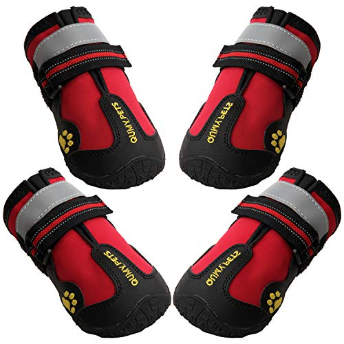 """QUMY Dog Boots Waterproof Shoes for Large Dogs with Reflective Straps Rugged Anti-Slip Sole Black 4PCS (Size 7: 3.1""""x2.7""""(LW), Red)"""