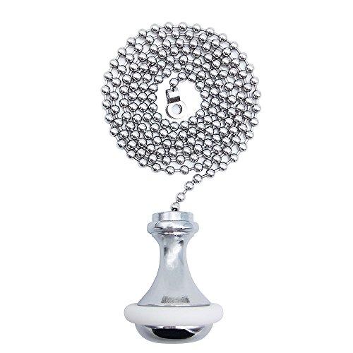Kordel Pull/SFTlite Rollo Pull – Licht Pull Kette Verlängerung mit Zugschnur Ball Kette 85 cm Bad WC Licht/Griff Messing Cord Gewicht Pull Chrom - Rubber Ring
