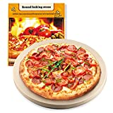 Pizza Stone, 15''x 15'' Round Engineered Tuff Cordierite Durable Baking Stones for Ovens & Grill & BBQ, Stone Oven Round Pizza Stone