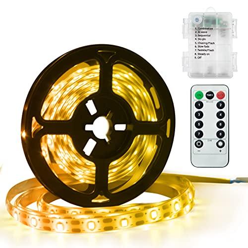 DreiWasser LED Licht Streifen, 1,5m 90 LEDs Lichtband Batteriebetrieben Streifenlichter 8 Modi mit IR Fernbedienung (Warmweiß)