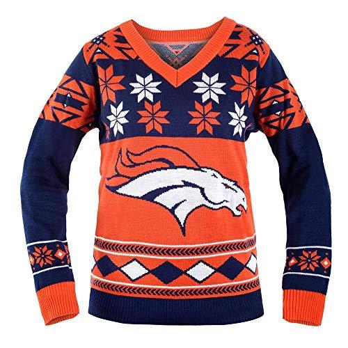 NFL女性v领毛衣,丹佛野马队,小