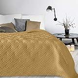 Design91 Tagesdecke Alara Gesteppter Bettüberwurf Einfarbig Steppung 3D Geometrisches Muster Ganzjährig (Senf 1, 230 x 260 cm)