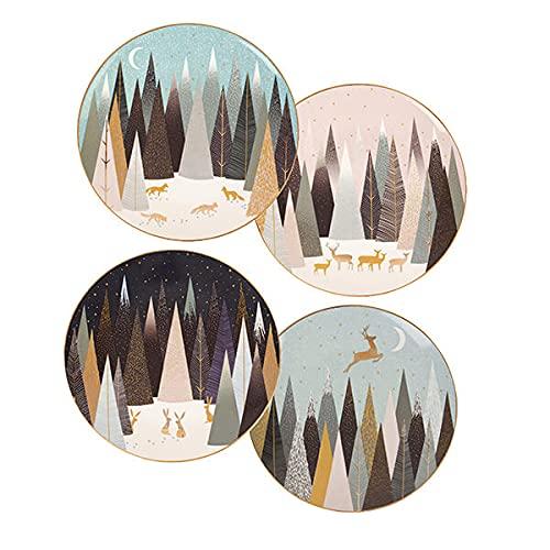 Sara Miller Portmeirion SMFP78964-XG Lot de 4 assiettes en porcelaine Motif pin givré 20 cm