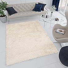 Tapiso Essence Alfombra de Salon Comedor Sala Dormitorio Juvenil Diseño Moderno Beige Mullido Pelo Shaggy 140 x 200 cm