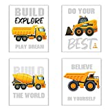 SUNSK Cuadros Infantile Excavador Cuadros Decorativos Dormitorio Cuadros Decoracion Salon Decorativas para Pared Arte Mural 4 Piezas