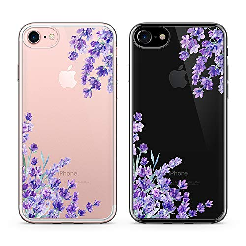 Obbii Design iPhone6s 7 8 SE Clear Case Design Pattern Printed Transparent Plastic Back Case with TPU Bumper Case Cover for iPhone 6s/iPhone 7/ iPhone 8/ iPhone SE 2020 (4.7') (Lavender)