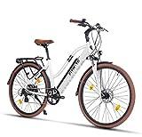 Fitifito CT28 Zoll Elektrofahrrad Citybike E-Bike Pedelec, 48V 250W Cassette Heckmotor, 13Ah 624Wh Samsung Akku, 8 Gang Shimano Schaltung, Front Rear hyraulische Bremsen (Weiss)