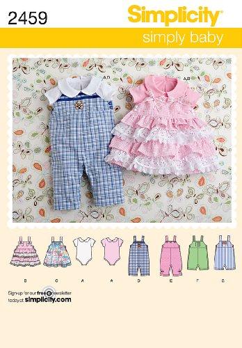 Simplicity Schnittmuster 2459 Strampelanzug und Babykleider, XXS-XS-S-M-L