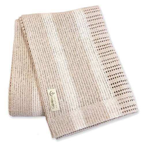 Baby Decke in natur-beige mit pastell-rosa Streifen I 100% Bio-Baumwolle 75 x 100 cm I Ideal als Erstlingsdecke I flauschig federleichte Kuscheldecke I kuschelige Baby Strickdecke I Sommerdecke