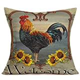 Tlovudori Farm Animals Rooster Design Pillow Cushion Case Cover Cotton Linen Big Cock with Rustic Sunflowers Welcome Words Standard Pillow Covers Home Sofa Chair Decor Pillowcase 18'x18' (FA-Cock)