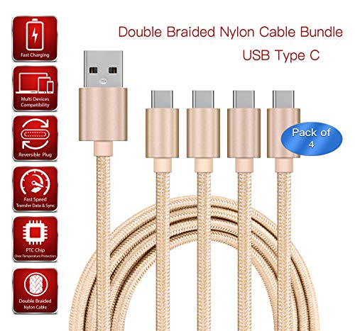 [4 PACK] 3m Gold USB Type-C Cable Fast Charge Nylon Double Braided Strong Durable Anti-Twist | Charge, Transfer Data & Sync Cable Compatible For Apple iPad Pro 11 WiFi Cellular 256GB