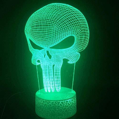 LSDAMN 3D-Lampe Anti-Hero Skull Punisher Frank Castle Bluetooth-Lautsprecher Basis Dekoration Dropship für Kinder USB-LED-Nachtlichtlampe (Handy-Fernbedienung)