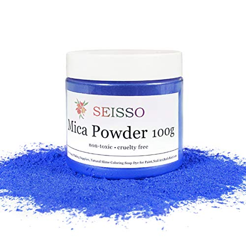 SEISSO Mica Powder Darker Blue - 100 Gram/ 3.5 Ounce Fine Shimmer Pigment, Natural Non- Toxic Colorant Dye for Crafts Soap Making Bath Bomb Epoxy Resin Paint Acrylics Rubber Clay Kid Slime Nail Polish