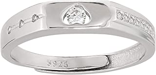 Ak Silver Unisex Heart Design Valentines Ring - 8 US