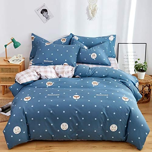 HUANGDANSEN Bedding Double Bed Cotton Four Piece Bedding Set Warmth Smooth And Soft Printed Quilt Cover Sheet Pillowcases Anti Static Delicate Suit