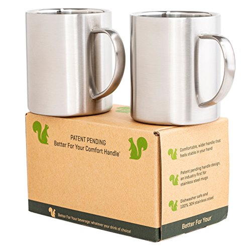 Stainless Steel Mugs - Double Wall - Comfortable Wider Handle 13.5oz Metal Coffee Mug Tea Cups - for Home Camping Outdoors RV Gift - Shatterproof Dishwasher Safe Set of 2