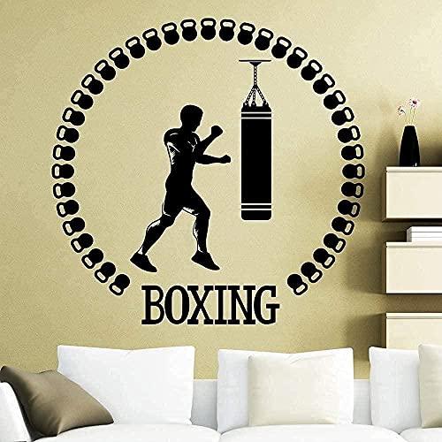 ZZQQQ Etiqueta engomada de la Pared de los Deportes Boxeo Boxeo Fitness Gym Decal Gym Family Room Decoración Wallpaper 86X87cm