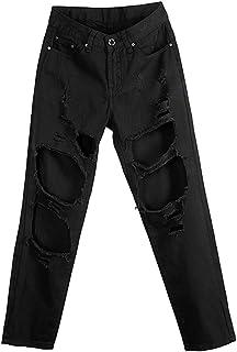 MCUKAY 九分丈 ダメージジーンズ 柔らかい ストレートデニムパンツ レディース 高校生 ゆったり おしゃれ ウォッシュ加工 ボーイフレンドデニム