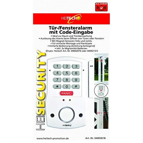 Heitech® Tür- und Fensteralarm mit Code-Eingabe, inkl. 2X AA Batterien. Alarmanlage mit Bewegungsmelder als Einbruchschutz