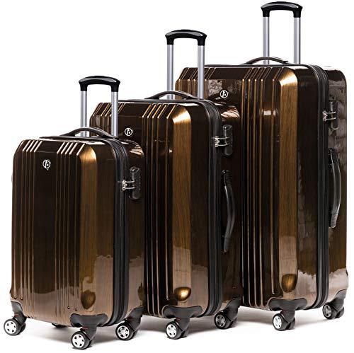 FERGÉ Kofferset Hartschale 3-teilig Cannes Trolley-Set - Handgepäck 55 cm, L und XL 3er Set Hartschalenkoffer Roll-Koffer 4 Rollen Bronze