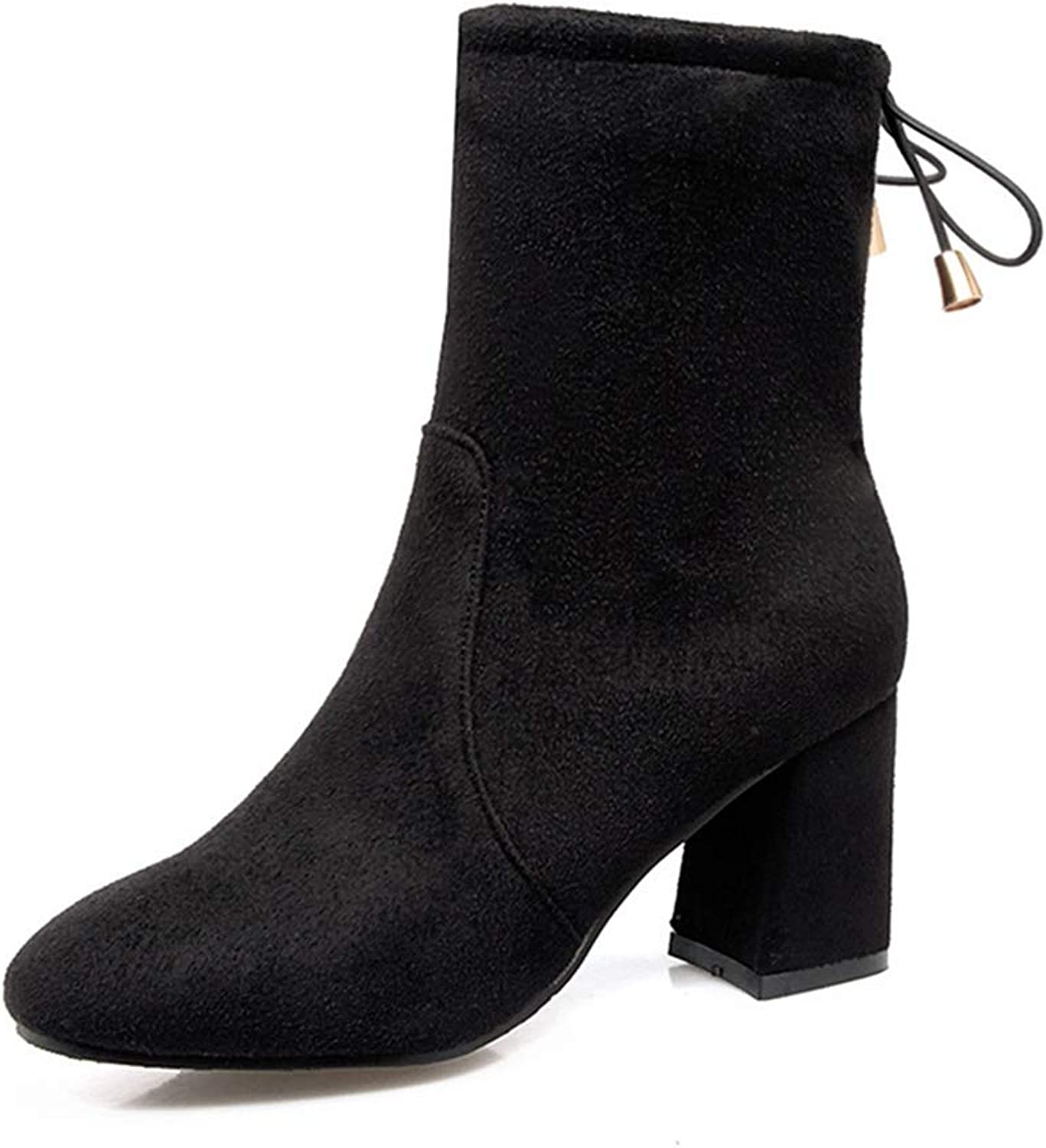 GIY Women's Stretch Suede Ankle Boots Vegan Round Toe Chunky High Heel Lace Up Elastic Dressy Short Bootie