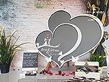 aqf528145 - Libro de invitados de boda con corazones dobles y alternativo para bodas, libro de invitados de boda, hojas de boda, libro de invitados de madera