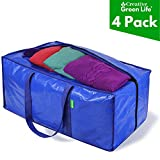 Heavy Duty Extra Large Storage Bags Moving Bag Totes (4-Pack). XL Storage Bags for Clothes. Great for Blankets, Comforter, Bedroom closet, Dorm Room Essentials, Moving Supplies, Clothing Storage Bags