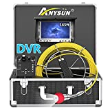 Pipe Pipeline Inspection Camera,Anysun 50m-165FT Cable Drain Sewer Industrial Endoscope Waterproof IP68 with 7 Inch Lcd...