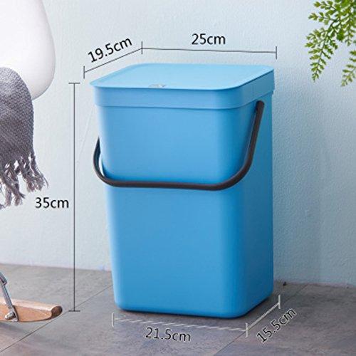 DW&ACCDB Poubelle Slim Simplicité,avec Couvercle 12l Le Style européen du Nord Matières Plastiques Peut Se Bloquer-G 12L