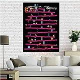 FGVB Póster de Juegos de Nintendo Retro de Donkey Kong (Donkey Kong clásico/NES) Póster de Lienzo para decoración del hogar-60x80cm sin Marco