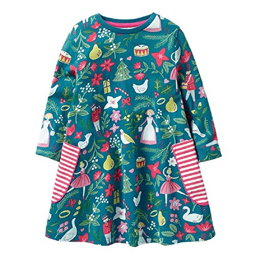 FreeLu Girls' Cotton Casual Longsleeve Party Dresses Special Occasion Cartoon Print Dress (3T, Christmas)