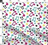 Musik, Musical, Noten, Herzen, Notizen Stoffe - Individuell